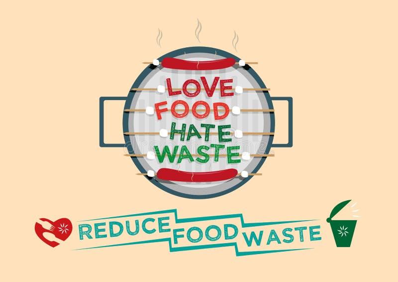 Concetto di progetto grafico dello spreco di odio dell'alimento di amore Riduca il concetto di campagna dei rifiuti alimentari illustrazione vettoriale