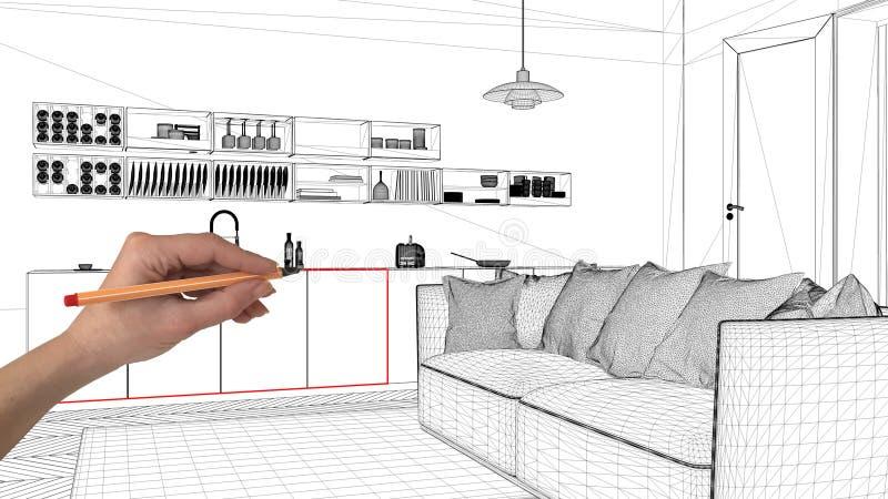 Concetto di progetto di interior design, architettura su ordinazione del disegno della mano, schizzo in bianco e nero dell'inchio immagini stock libere da diritti