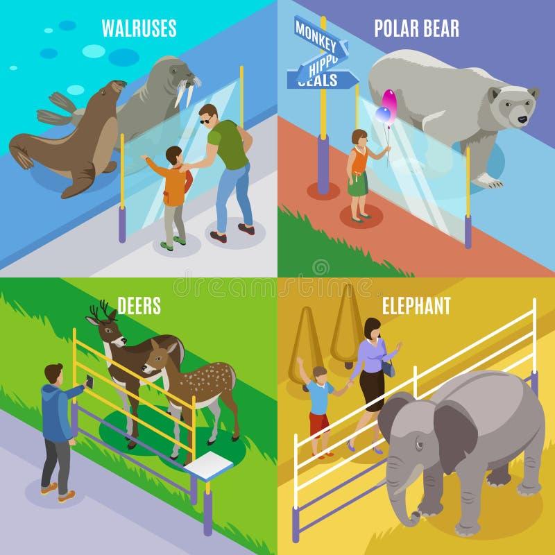 Concetto di progetto isometrico degli animali dello zoo royalty illustrazione gratis