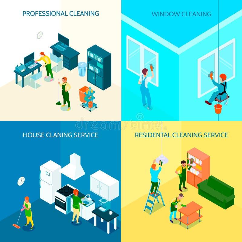 Concetto di progetto isometrico di servizio di pulizia royalty illustrazione gratis