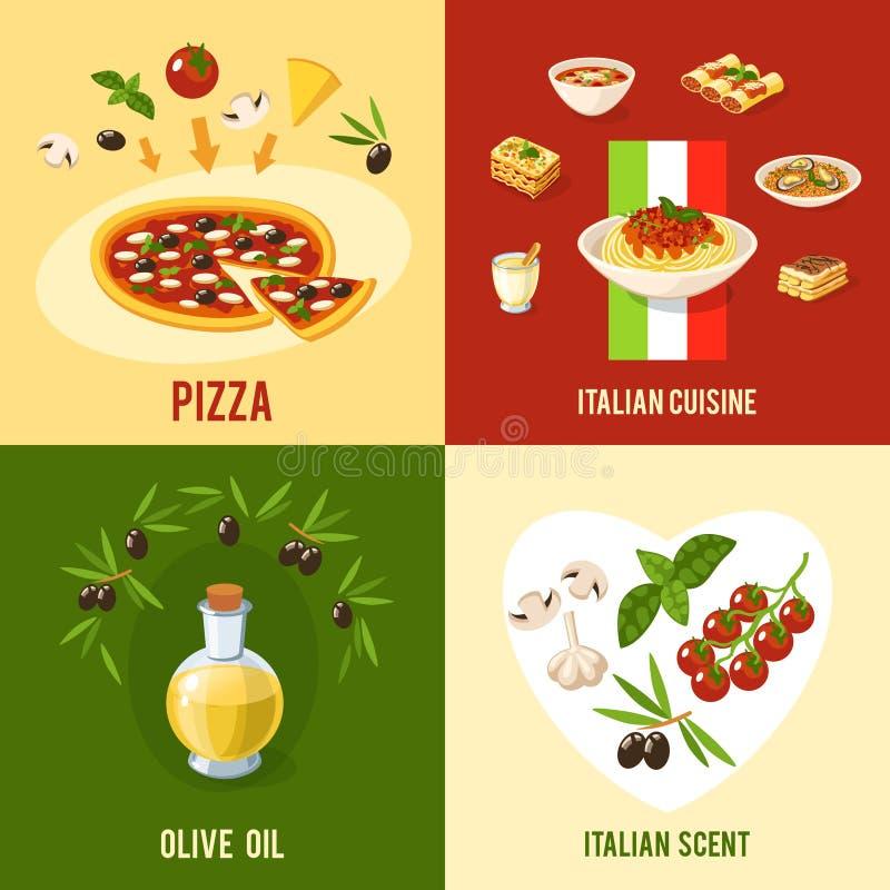 Concetto di progetto italiano dell'alimento illustrazione vettoriale