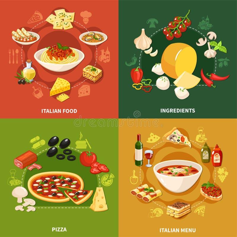Concetto di progetto italiano dell'alimento 2x2 royalty illustrazione gratis
