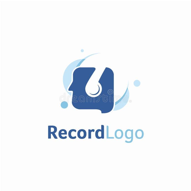 Concetto di progetto di logo del disco dello studio, modello di logo del app di musica illustrazione di stock