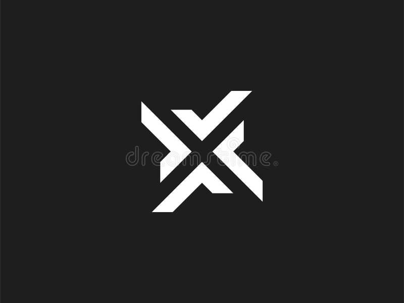 Concetto di progetto di logo della lettera X, stile negativo dello spazio Segno minimo moderno dell'estratto costruito dai segni  illustrazione vettoriale