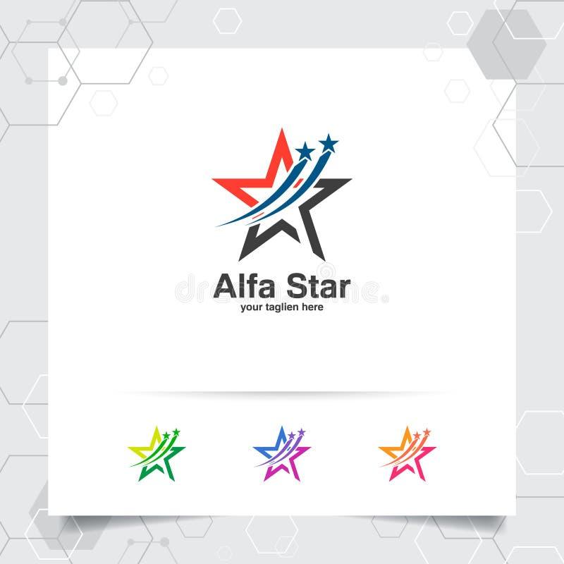 Concetto di progetto di logo della stella dell'elemento di simbolo della freccia, del logo astratto di vettore della stella usato illustrazione di stock