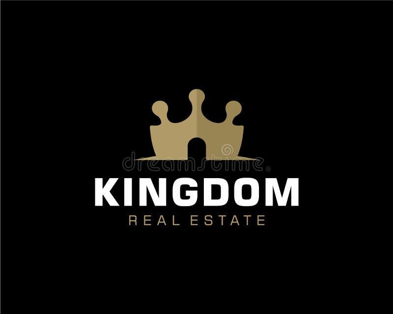Concetto di progetto di logo di Real Estate e della corona royalty illustrazione gratis