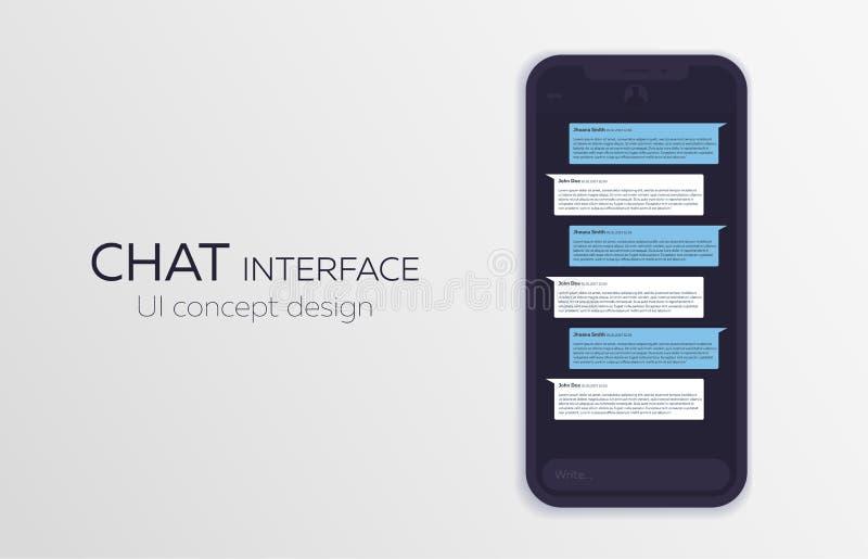 Concetto di progetto mobile di ui Applicazione d'avanguardia di chiacchierata con la finestra di dialogo Messaggero di Sms Illust illustrazione vettoriale