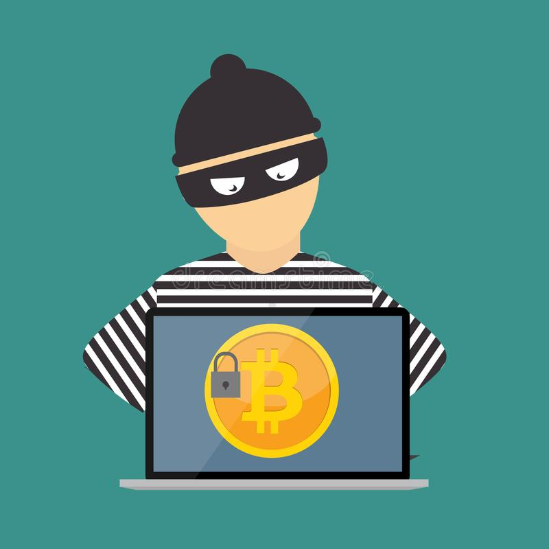 Concetto di progetto moderno piano di tecnologia di cryptocurrency del bitcoin, estrazione mineraria, e-portafoglio royalty illustrazione gratis