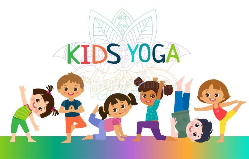 Concetto di progetto orizzontale delle insegne di yoga dei bambini Ragazze e ragazzi nell'illustrazione di vettore di posizione d royalty illustrazione gratis