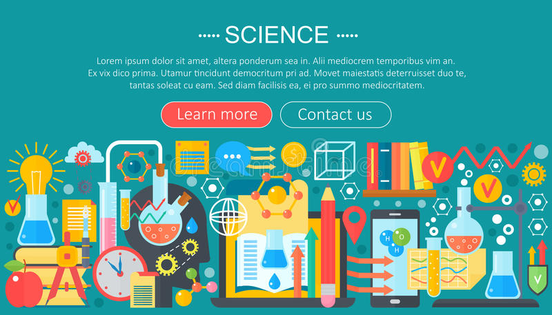 Concetto di progetto piano di scienza Insegna orizzontale con il posto di lavoro del laboratorio dello scienziato Esperimento di  illustrazione vettoriale