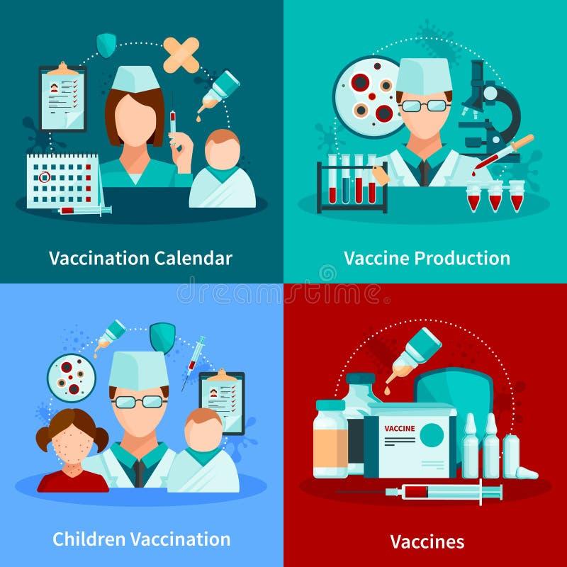 Concetto di progetto piano 2x2 di vaccinazione royalty illustrazione gratis