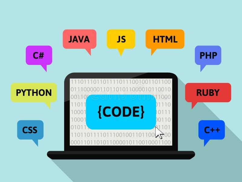 Concetto di programmazione con lo schermo del computer portatile ed il codice binario illustrazione di stock