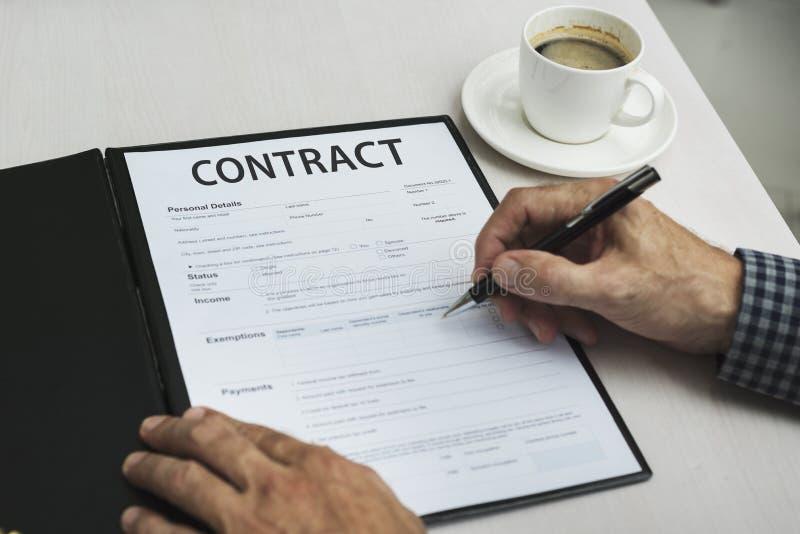 Concetto di promessa di impegno di accordo di affare del contratto fotografie stock
