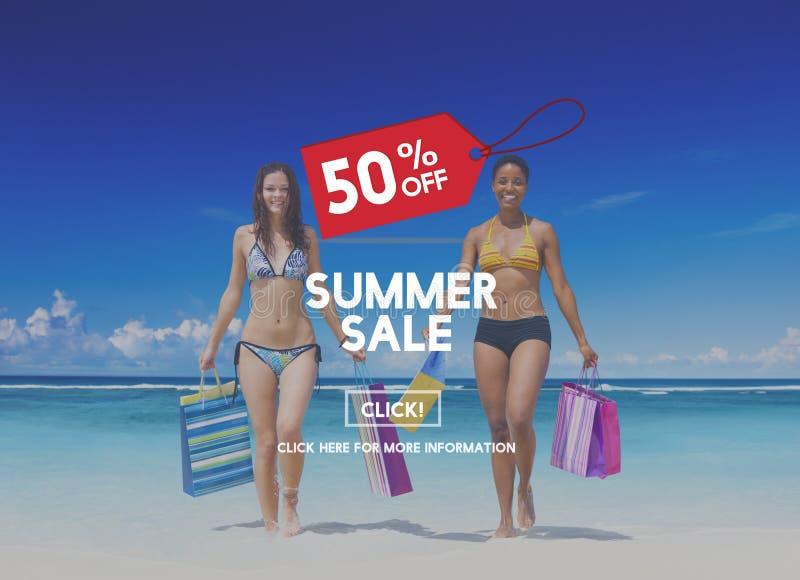 Concetto di promozione di sconto di pubblicità di vendita di estate fotografia stock
