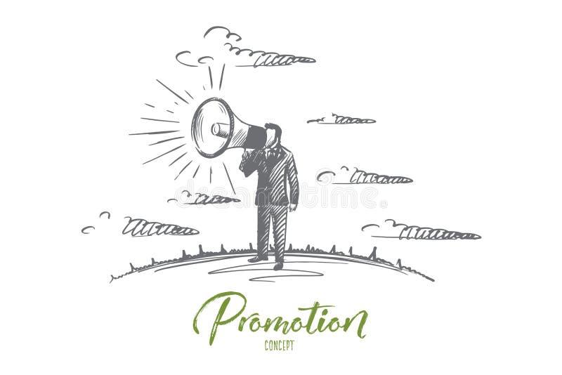 Concetto di promozione Vettore isolato disegnato a mano illustrazione vettoriale