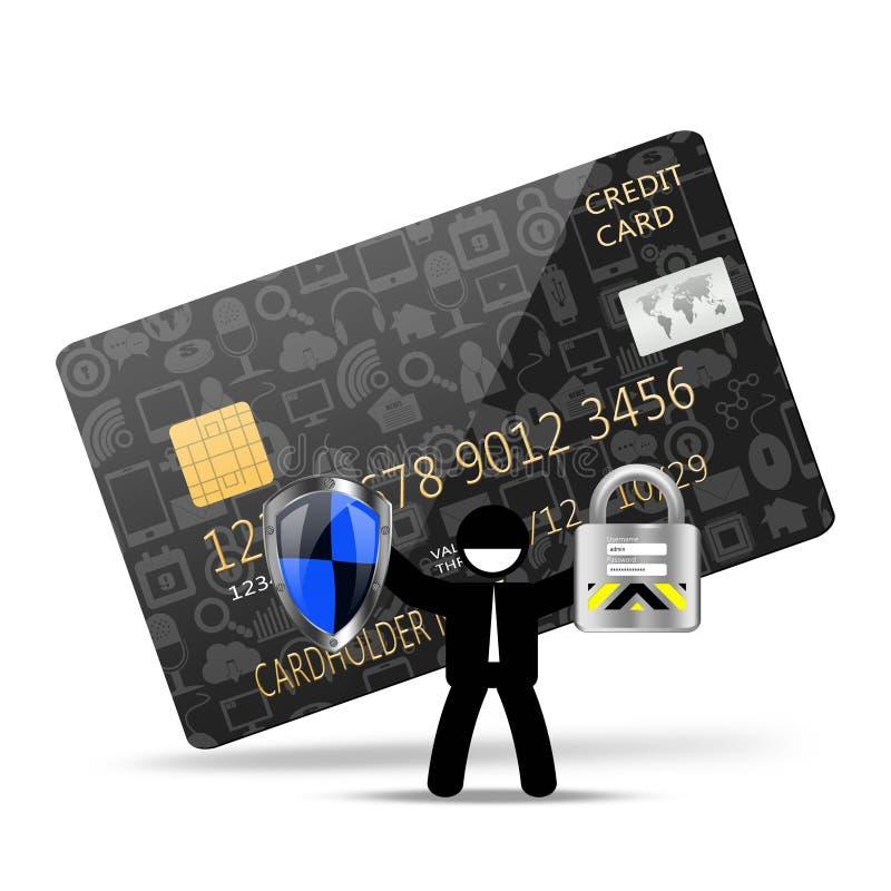 Concetto di protezione con il lucchetto sul creditcard illustrazione vettoriale