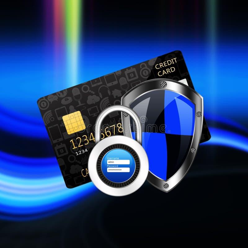 Concetto di protezione con il lucchetto sul creditcard royalty illustrazione gratis