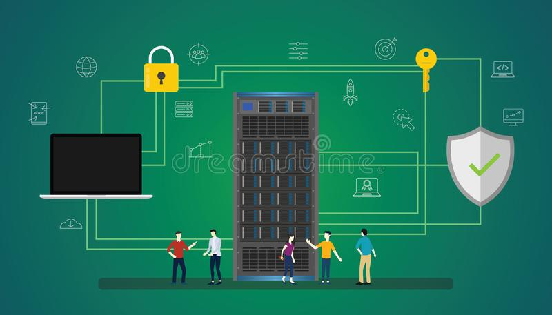 Concetto di protezione dei dati con il server della gente e la base di dati sicura dell'icona - illustrazione di vettore illustrazione vettoriale