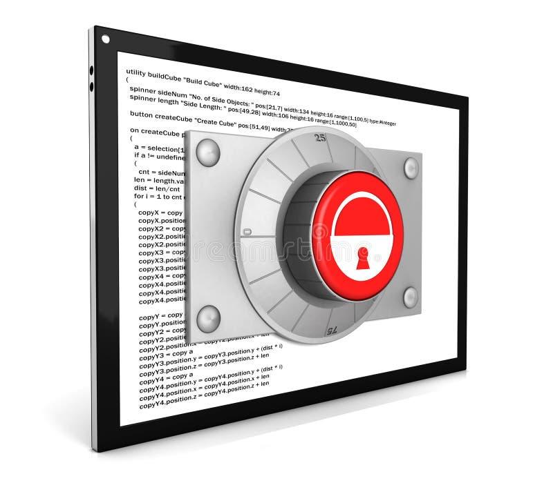 Concetto di protezione dei dati: PC e serratura della compressa royalty illustrazione gratis