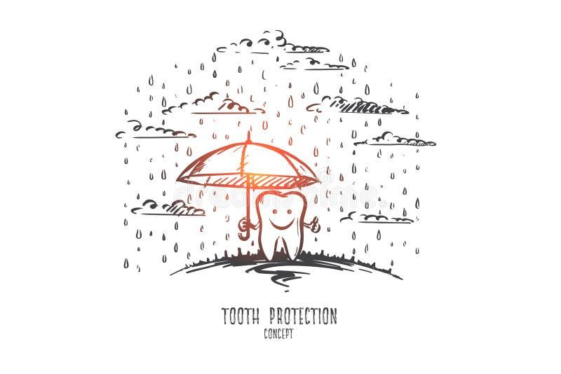 Concetto di protezione del dente Vettore isolato disegnato a mano illustrazione di stock