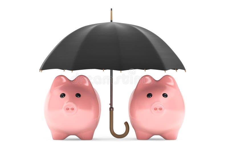 Concetto di protezione di ricchezza. Porcellini salvadanaio sotto l'ombrello immagine stock