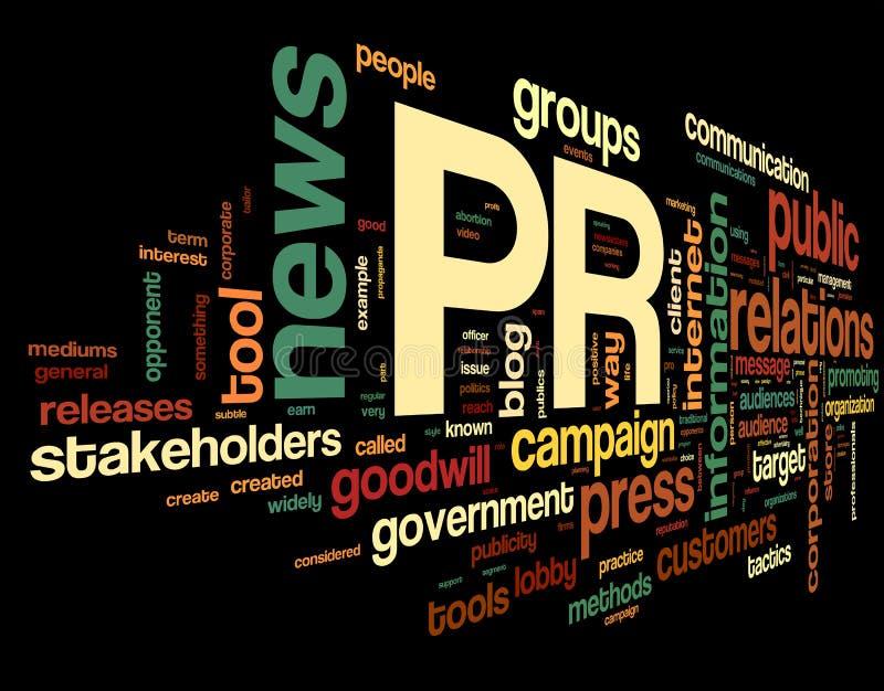 Concetto di pubbliche relazioni in nuvola dell'etichetta illustrazione di stock
