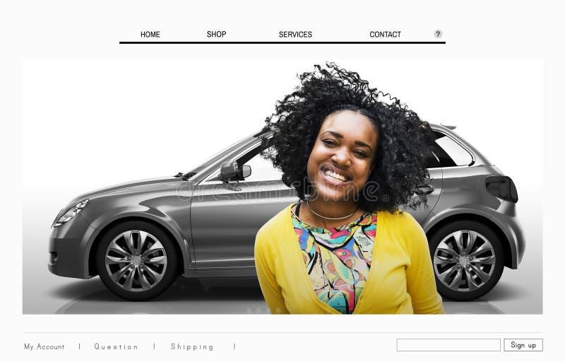 Concetto di pubblicità della disposizione del homepage del sito Web dell'automobile immagine stock libera da diritti