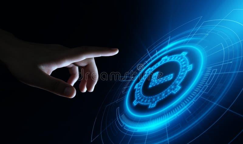 Concetto di qualità standard di tecnologia di affari di Internet di garanzia di assicurazione di certificazione di controllo illustrazione di stock