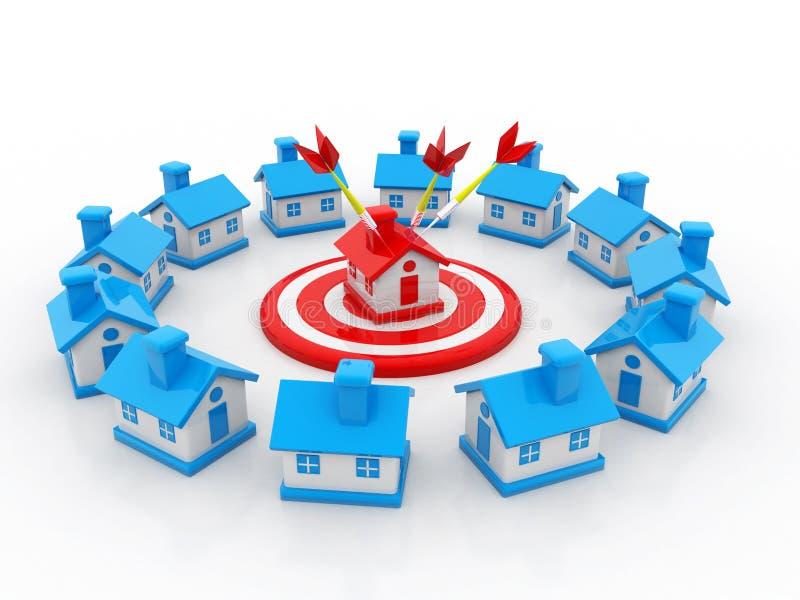 Concetto di Real Estate isolato nel fondo bianco 3d rendono illustrazione di stock