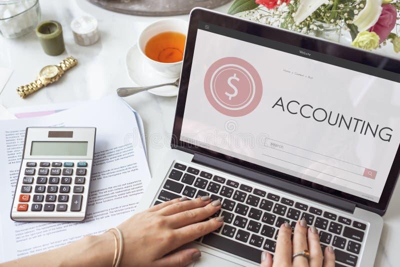 Concetto di ricerca del testo della pagina Web di contabilità di attività bancarie di acquisto fotografie stock