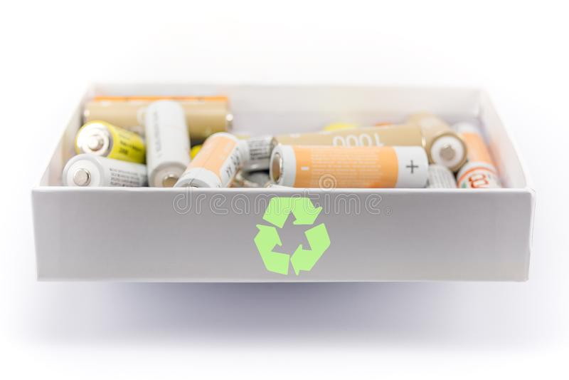 Concetto di riciclaggio della batteria immagini stock libere da diritti