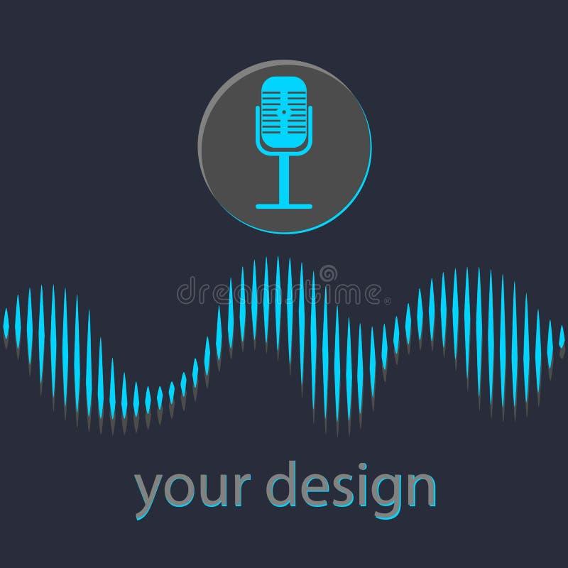 Concetto di riconoscimento della voce Bottone del microfono con la voce luminosa e le linee sane Illustrazione di vettore illustrazione di stock