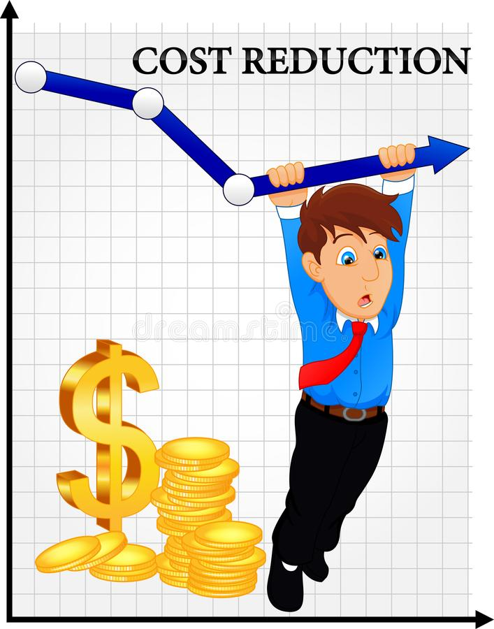 Concetto di riduzione dei costi Costo giù L'uomo d'affari con la sua mano abbassa la freccia del grafico illustrazione di stock