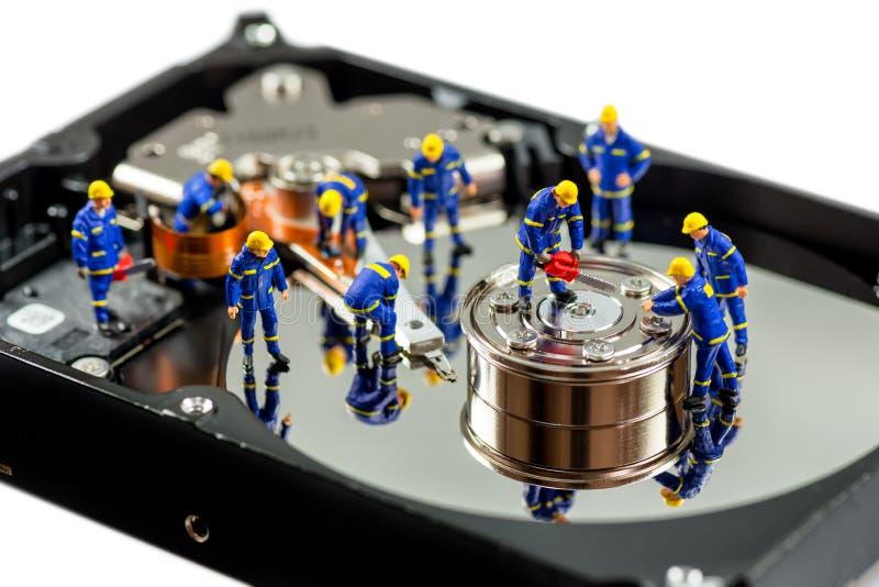 Concetto di riparazione del disco rigido Macro foto immagini stock libere da diritti
