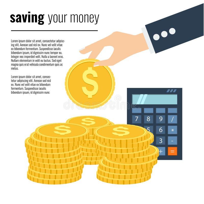 Concetto di risparmio dei soldi Illustrazione di vettore nella progettazione piana di stile royalty illustrazione gratis