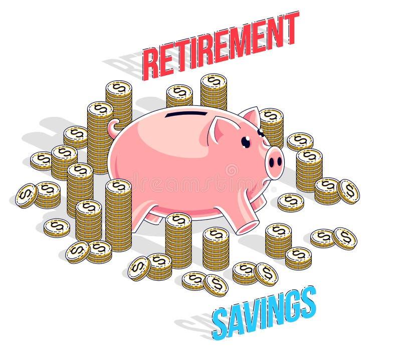 Concetto di risparmio di pensionamento, porcellino salvadanaio sveglio con la bambola del denaro contante royalty illustrazione gratis