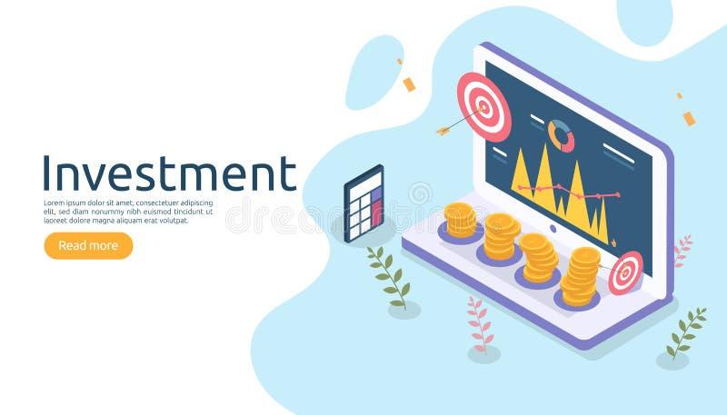 concetto di ritorno su investimento o della gestione affare online strategico per analisi finanziaria Illustrazione isometrica di illustrazione di stock