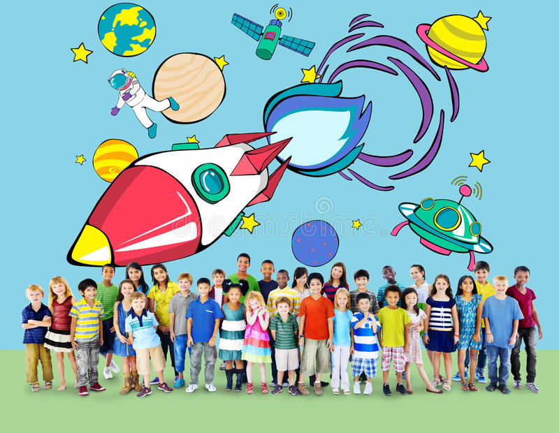 Concetto di Rocket Launch Space Outerspace Planets royalty illustrazione gratis