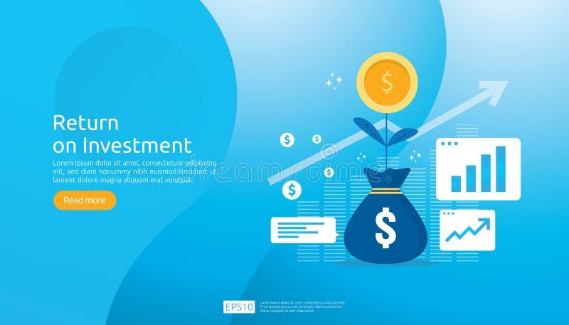 Concetto di ROI di ritorno su investimento E r profitto di aumento del grafico royalty illustrazione gratis