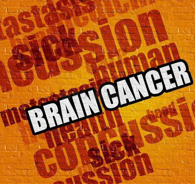 Concetto di sanità: Brain Cancer sul Brickwall giallo illustrazione vettoriale