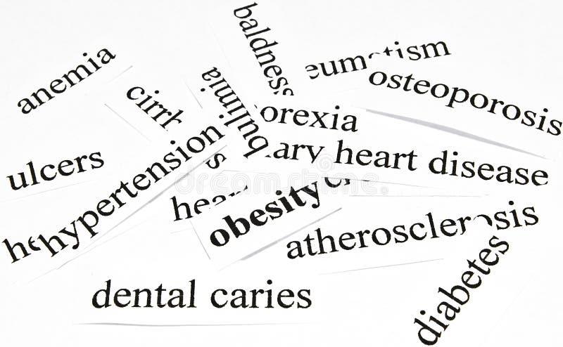 Concetto di sanità delle malattie causate da nutrizione non sana fotografia stock libera da diritti