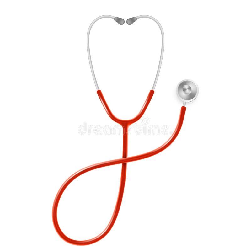 Concetto di sanità e medico, stetoscopio di medico s isolato su fondo bianco ENV 10 royalty illustrazione gratis