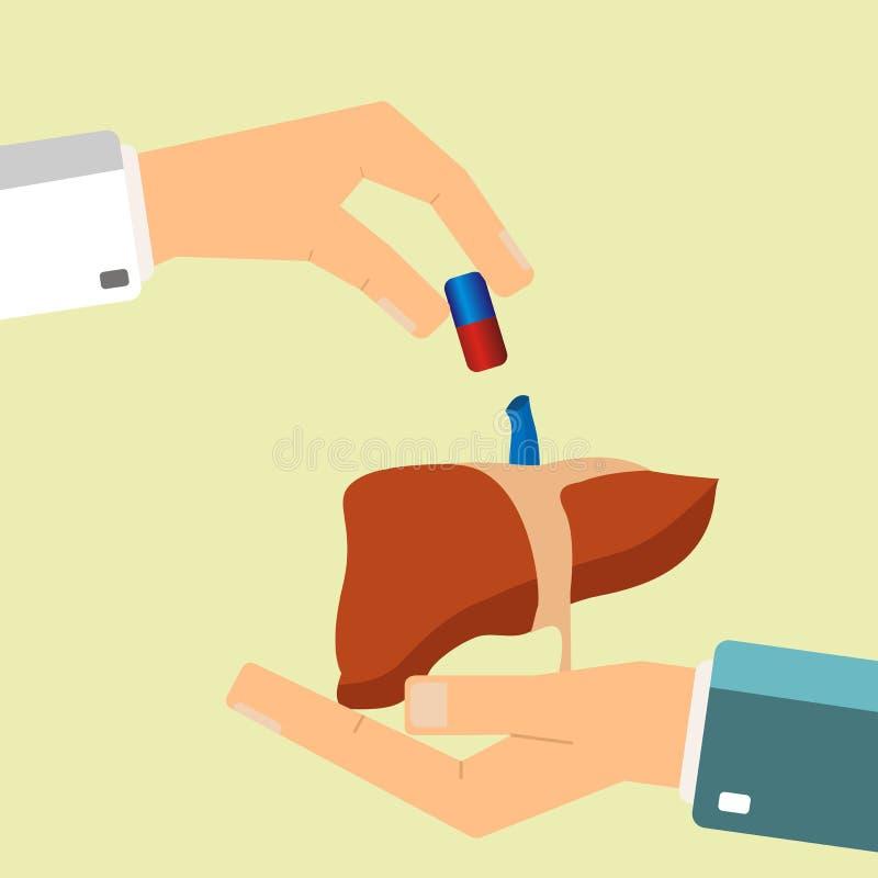 Concetto di sanità La mano del ` s di medico dà la pillola medica per i treatmen illustrazione di stock