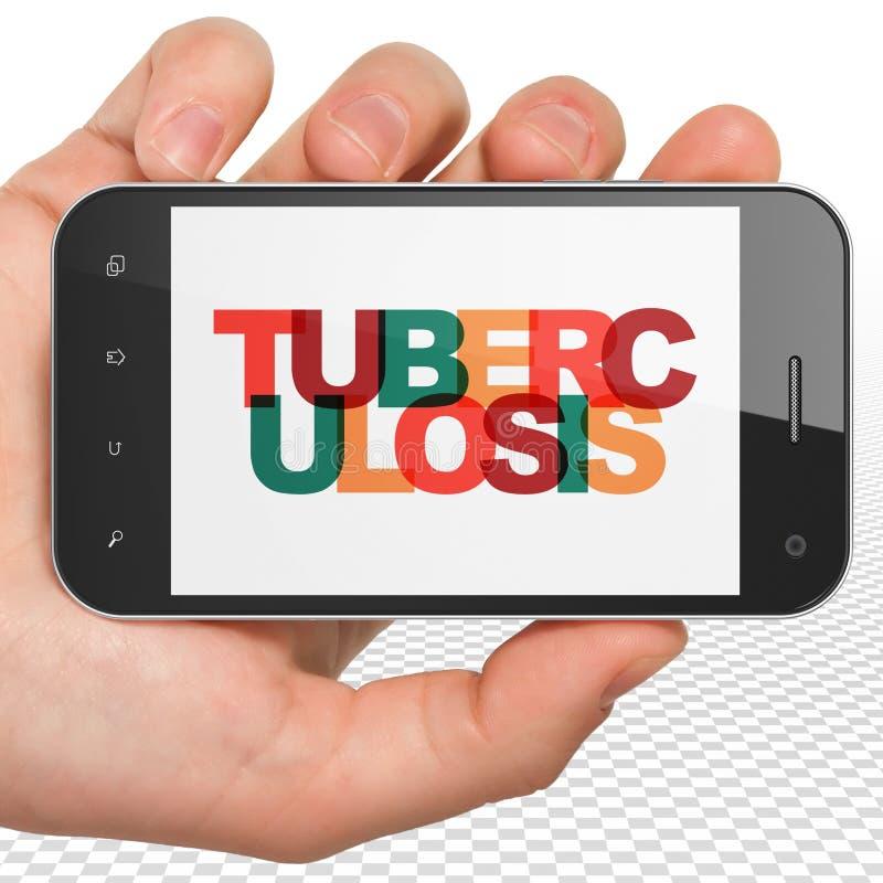 Concetto di sanità: Mano che tiene Smartphone con la tubercolosi su esposizione immagini stock libere da diritti