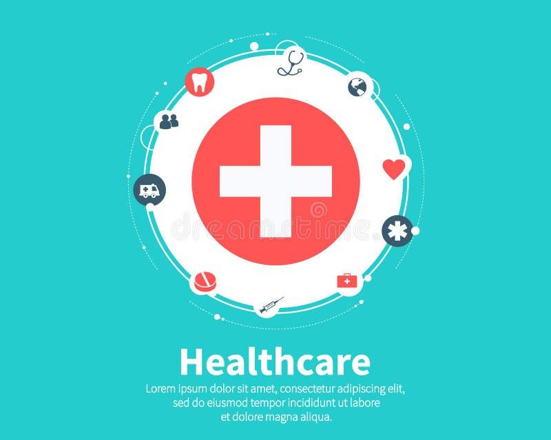 Concetto di sanità Medico, salute, cura, medicina, rete e concetti globali Progettazione piana del fumetto, vettore illustrazione di stock