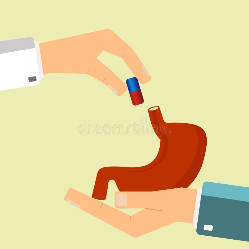Concetto di sanit? La mano di medico dà la pillola medica per lo stomaco umano del trattamento Illustrazione di vettore illustrazione vettoriale