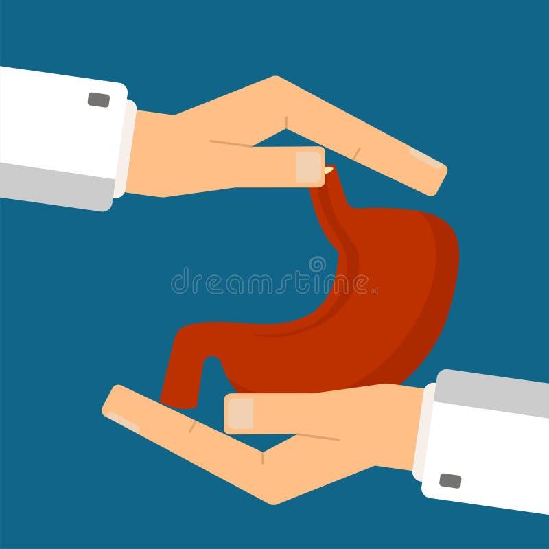 Concetto di sanit? Le mani di medico proteggono lo stomaco umano Illustrazione di vettore illustrazione di stock