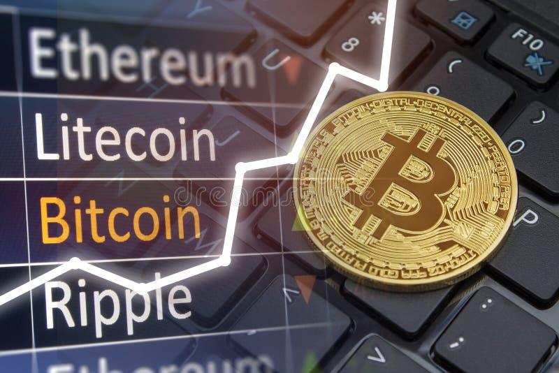 Concetto di scambio di Bitcoin Valori di mercato finanziario e di valuta immagini stock libere da diritti
