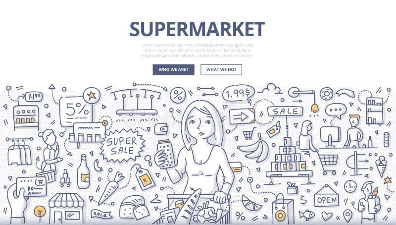 Concetto di scarabocchio del supermercato illustrazione vettoriale