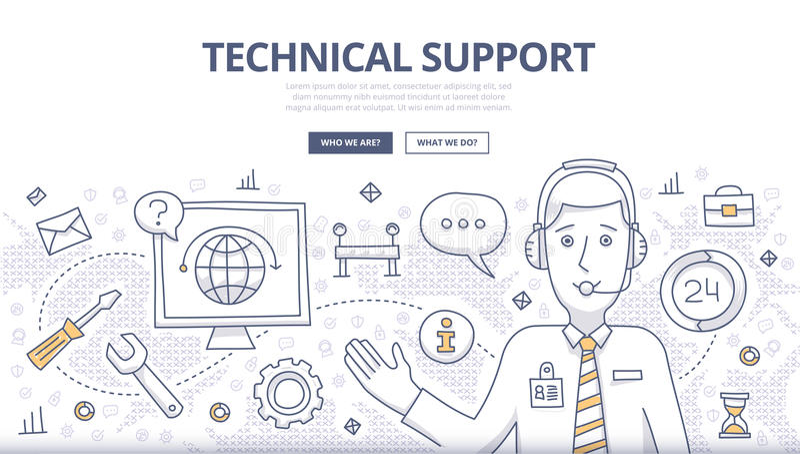 Concetto di scarabocchio del supporto tecnico royalty illustrazione gratis